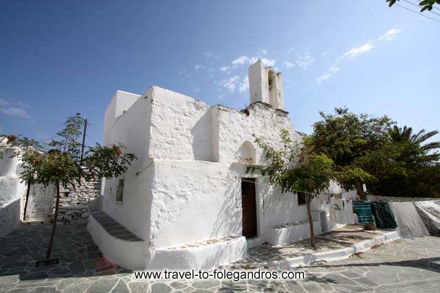 View of Agios Grigorios (St Gregory) church in Hora, Folegandros